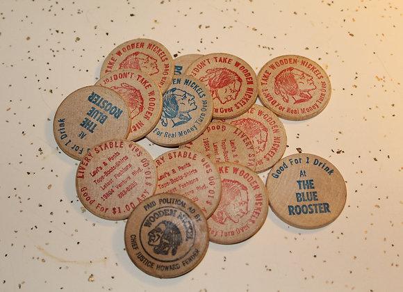 Lot of 14 vintage wooden nickels