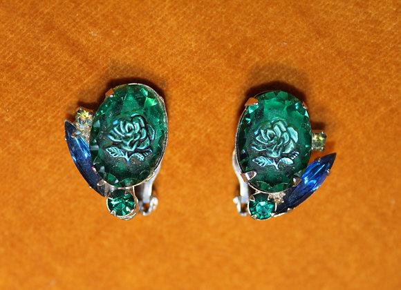 1950's Vintage Blue & Green glass clip-on earrings