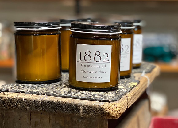 1882 Homestead Hand Poured Soy Candle-Peppercorn & Citrus