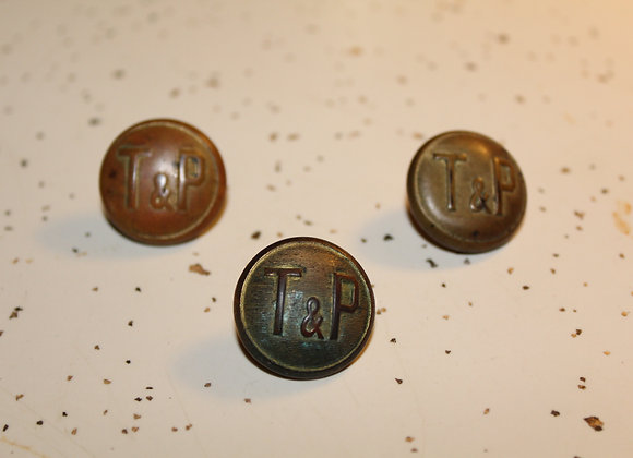 Vintage Texas & Pacific Railroad Brass Buttons