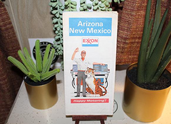 Vintage Exxon Gas Station Map - Arizona & New Mexico