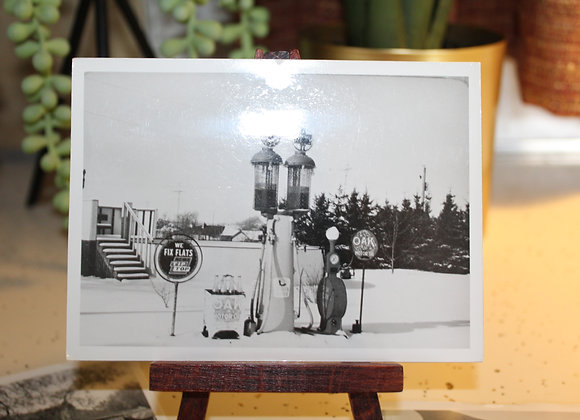 Lot of 7 Vintage Gas Pump Photo's