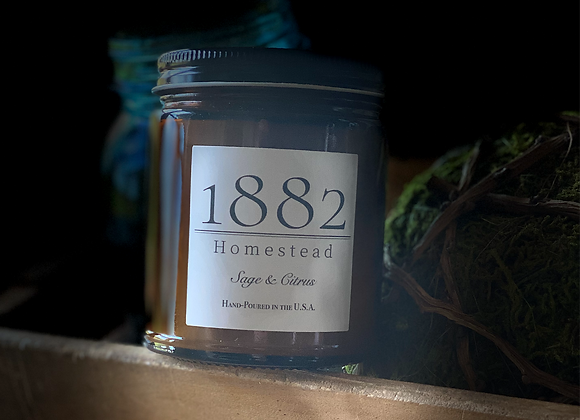 1882 Homestead Hand Poured Soy Candle- Sage & Citrus