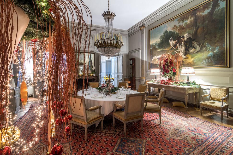 Décorations de Noël à l'intérieur du château de Bouges