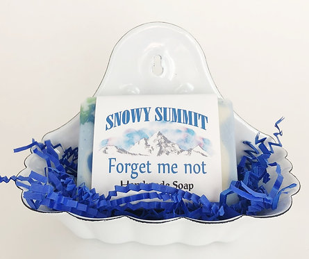 Forget me not soap w/ soap dish