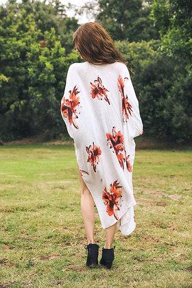 Floral Print on Cream Kimono