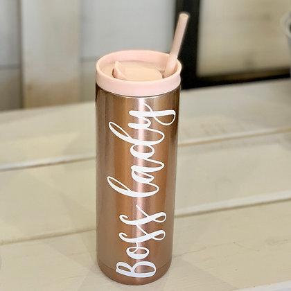 Boss Lady Water Bottle (pink)