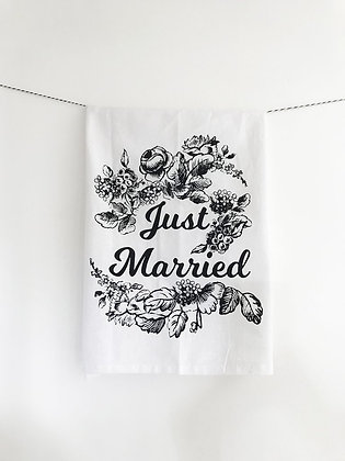 Just Married Cotton Tea Towel