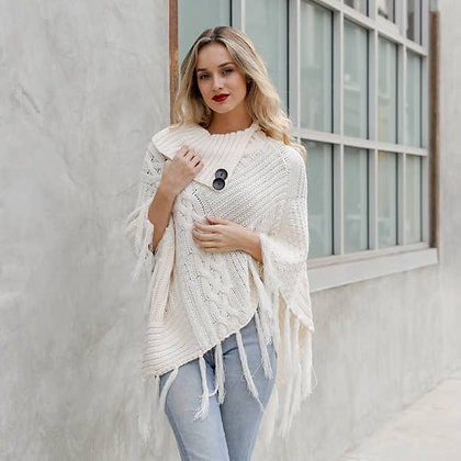 Ivory Cable Knit Poncho