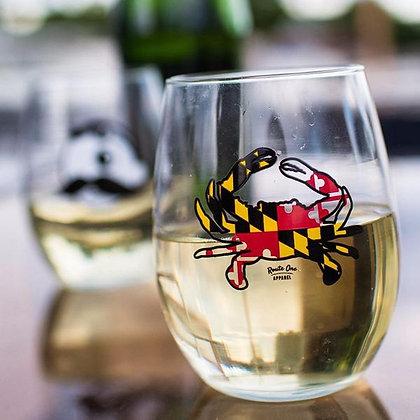 Maryland Crab Stemless Wine Glass