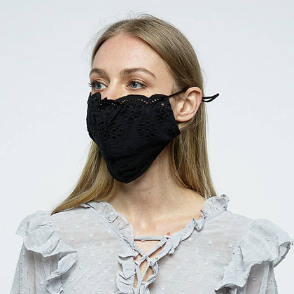 Black Eyelet Flower Face Mask