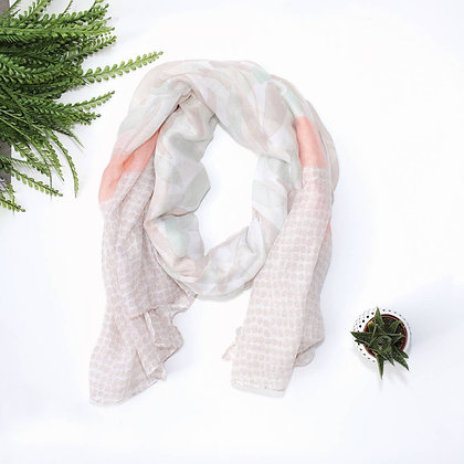 Tan Mint Peach Scarf