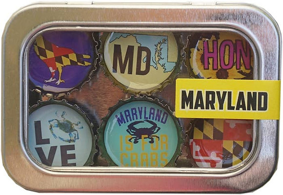 Maryland Bottle Cap Magnets in Tin