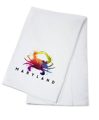 Maryland Crab Rainbow Tea Towel