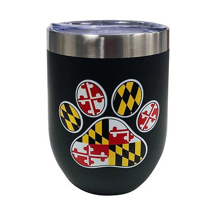 Maryland Flag Paw Print Wine Tumbler
