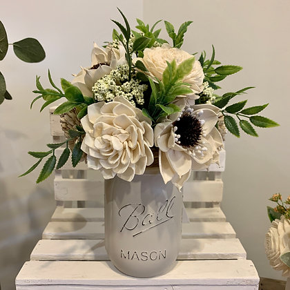 White Mason Jar Arrangement (5046)