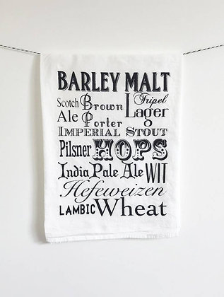 Beer Words Tea Towel