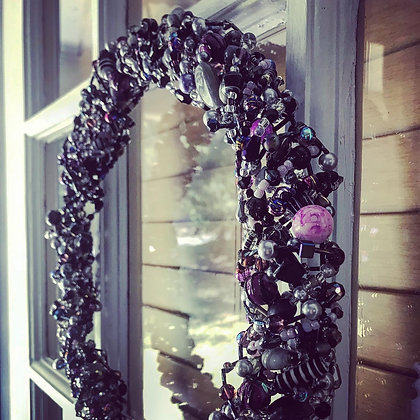 Purple Halloween Glass Wreath