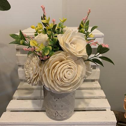 Small White/Pink Mason Jar Arrangement