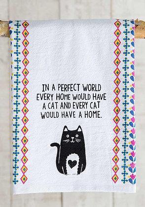 Flour Sack Towel - Perfect World Cat