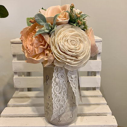 Peach Mason Jar Arrangement (5013)