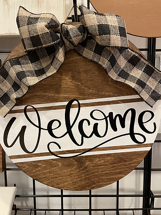 Welcome Circle Sign w/ Bow