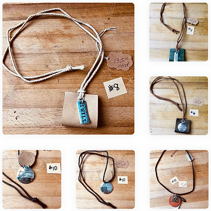 Assorted Upcycled Handstamped Necklaces