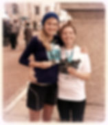 Vanessa and Amy, straight after running the Liverpool Marathon