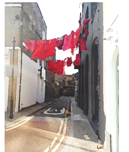 Red laundry on Doyce Street