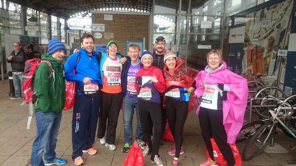 Ronnie and her friends getting ready for the London Marathon