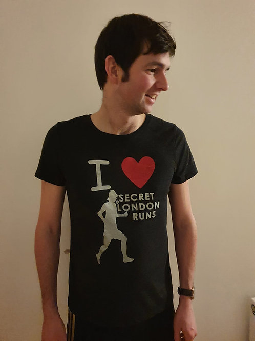 Men's vintage black I heart Secret London Runs shirt