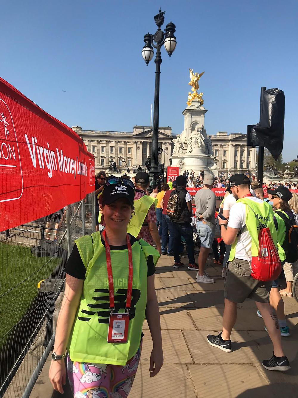 Vikki marshalling the London Marathon in 2017