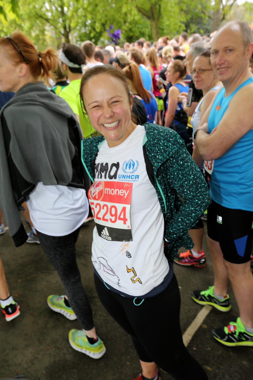 Emma at the start line of the London Marathon