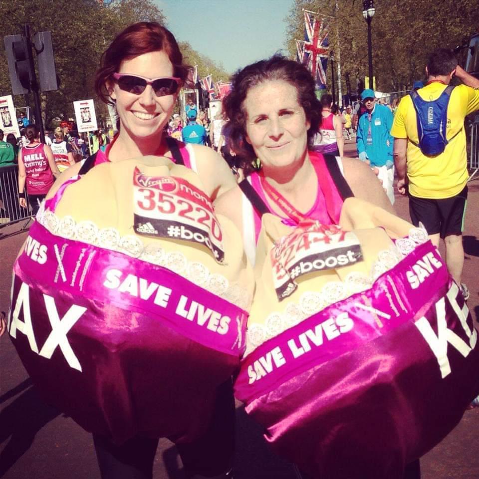Maxine running the London Marathon dressed as a boob