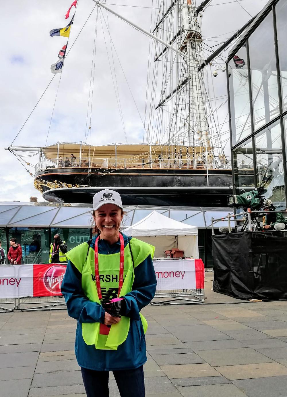 Emma marshalling the London Marathon at the Cutty Sark in 2019