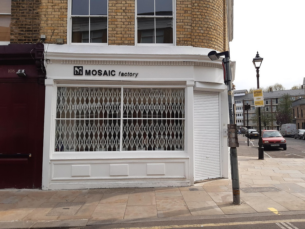 The Mosaic Factory storefront on Columbia Road, E2