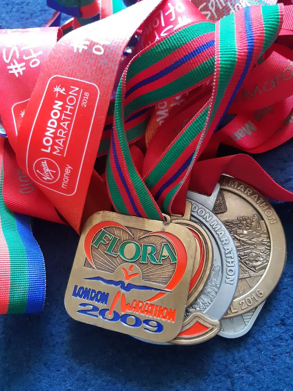 Ronnie's London Marathon medals