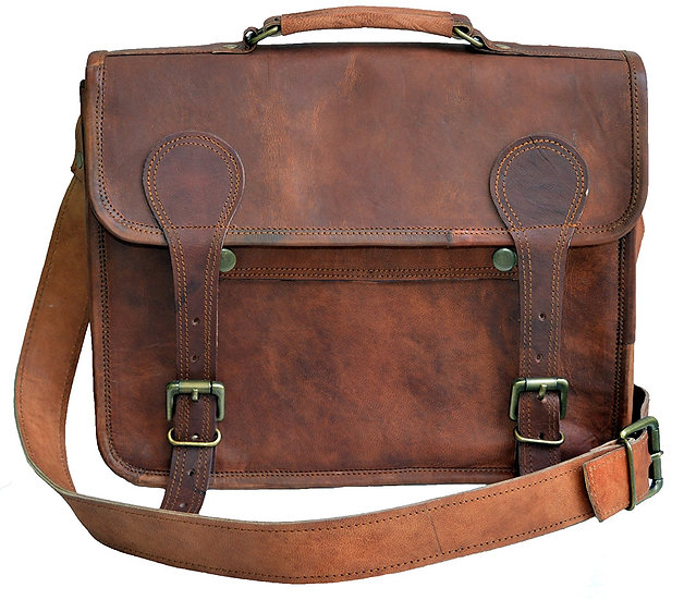 Jaald Unisex genuine Leather messenger man bag satchel laptop bag for men