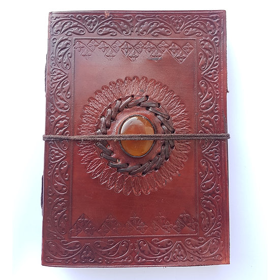 Handmade Embossed Leather Journal with Yellow Stone Personal Diary Travel Book