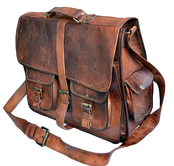 Jaald Mens Genuine Leather Large Laptop Bag Messanger Bag for Upto 15.6""