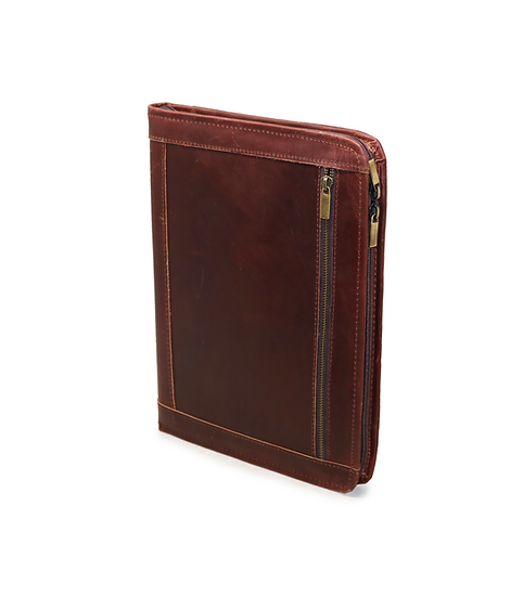 Vintage Leather Portfolio Business Zippered Padfolio Document Organizer Folder