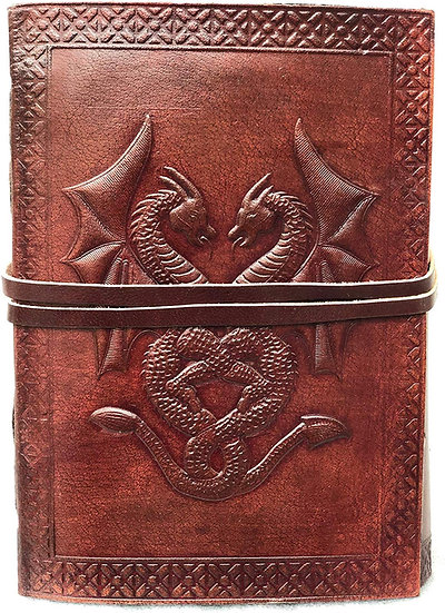 Jaald Genuine Leather Handmade Double Dragon Leather Blank Book Cord Diary gift