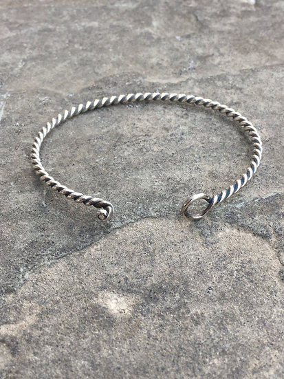 Vintage Sterling Silver Twisted RopeEveryday Bracelet Beautiful Gift