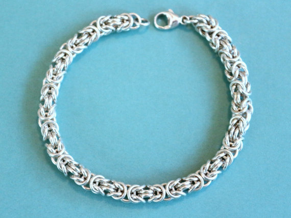 Sterling Silver Woven Silver Link Byzantine Bracelet Claw Clasp