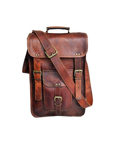 """15"""" Men's Genuine Leather messenger bag laptop case Vertical Satchel Bag"""