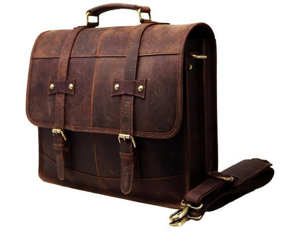 Buff Leather Messenger Laptop Bag  Large Satchel Office Bag for Women Men