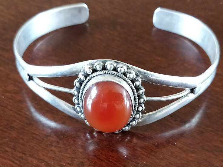 Handmade 925k Sterling Silver Orange Stone Handmade Antiqued Ring Gift of Love