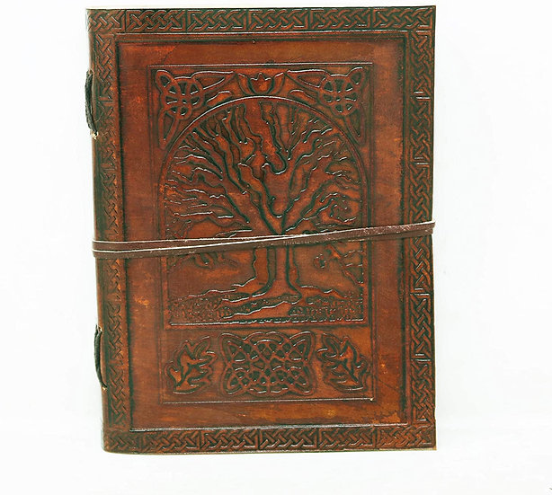 Handmade Large Leather Journal Celtic Embossed Tree of life Blank Diary