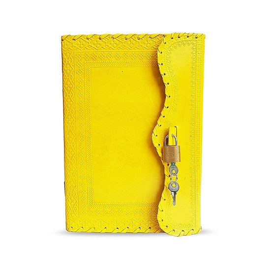 Handmade Genuine Yellow Leather Journal Personal Travel Diary Gift For Men Women