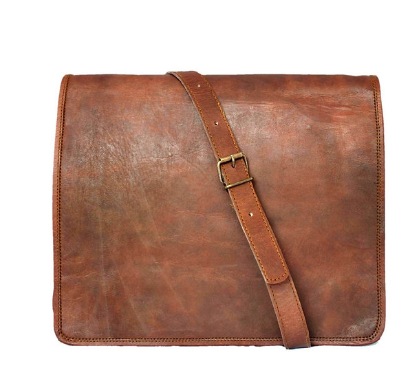 Leather messenger bag / satchel that can accommodate Tablets/Ipad Bag